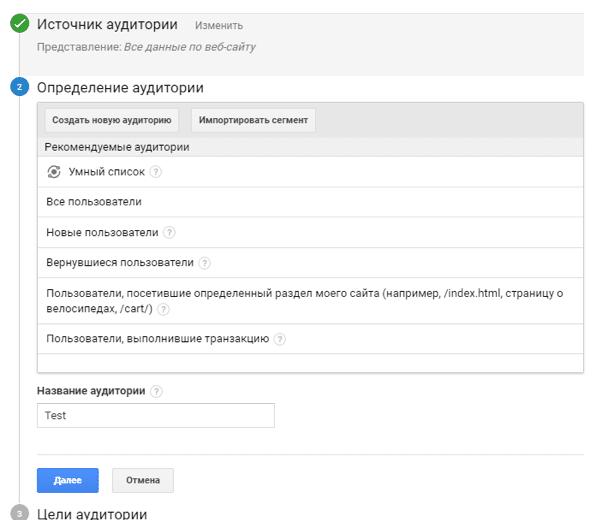 Аудитории для динамического ремаркетинга в Google Analytics