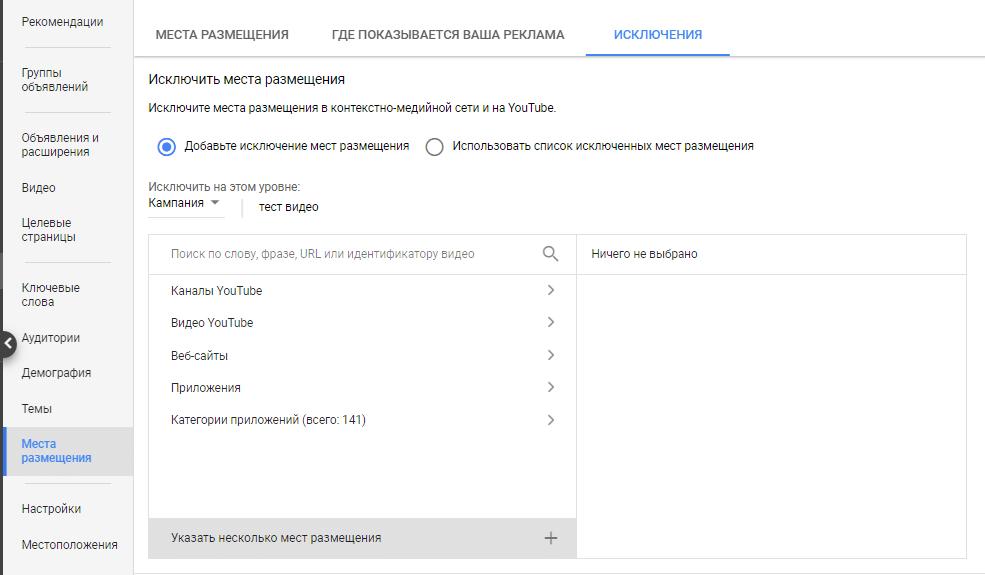 Места размещения Google Ads